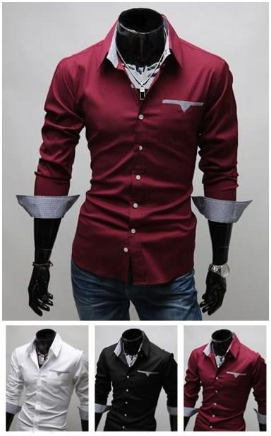 Fashion Men's Slim Fit Casual Long-sleeved Shirt