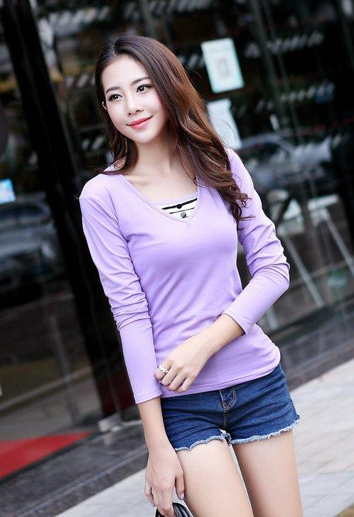 Fashion Milk Silk Layered-look Long Sleeve Blouse (Light Purple)