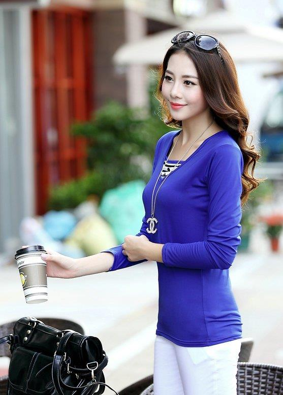 Fashion Milk Silk Layered-look Long Sleeve Blouse (Sapphire Blue)