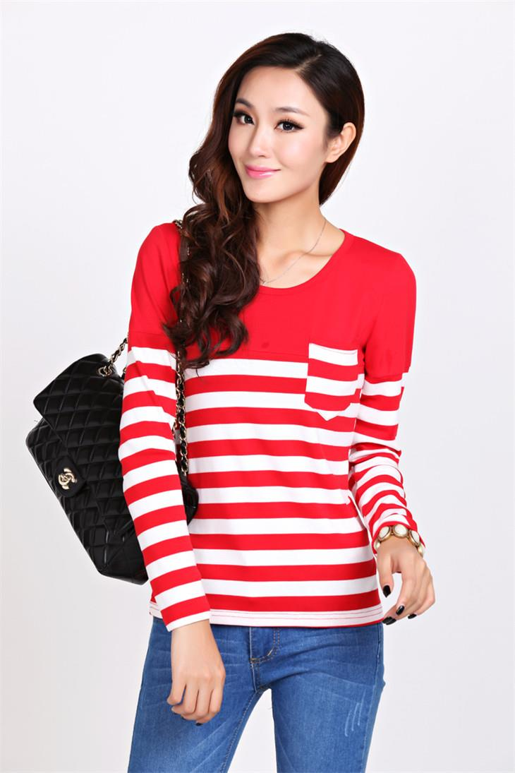 Fashion Pocket Stripe Long-sleeve Blouse (Red)
