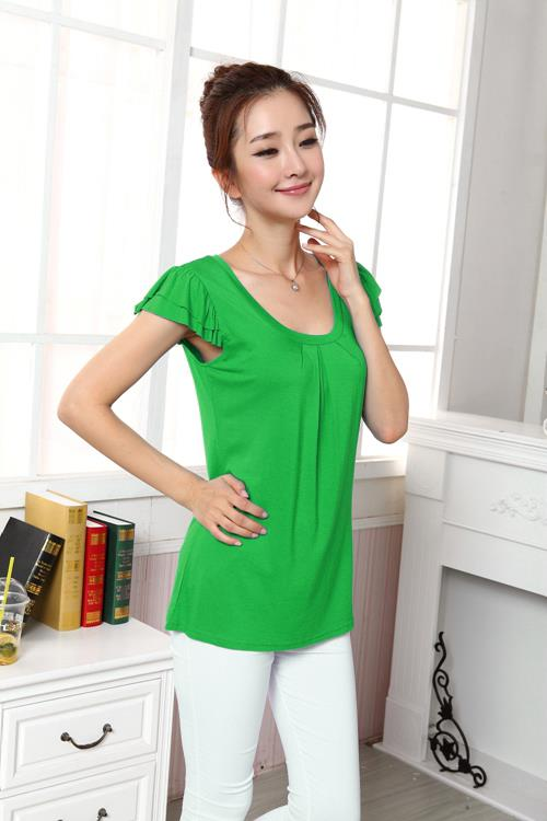 Fashion Shoulder Flounce Show-slim Blouse (Green)