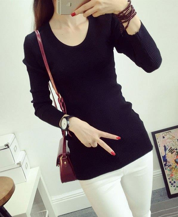 Fashion Show-slim Knit Long Sleeve Blouse (Black)