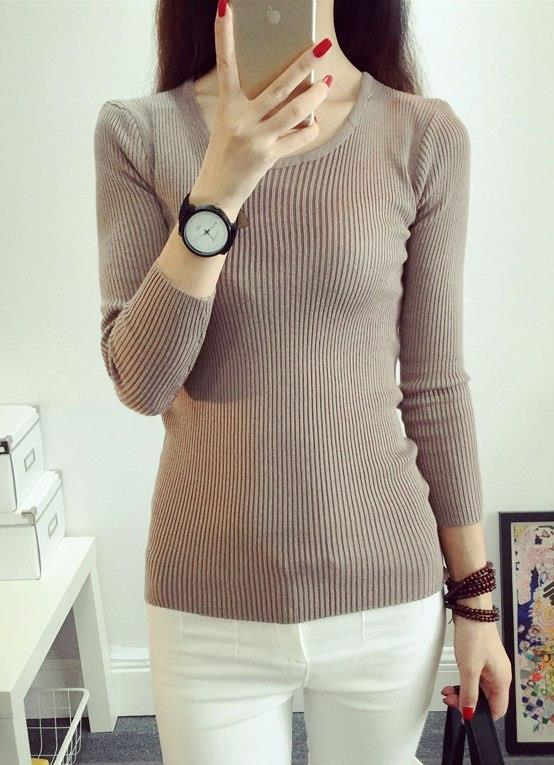 Fashion Show-slim Knit Long Sleeve Blouse (Khaki)