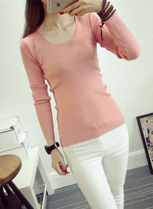 Fashion Show-slim Knit Long Sleeve Blouse (Orange Pink)
