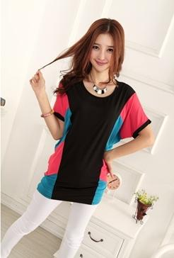 Fashion Side Mix Colour Long Blouse (Red)