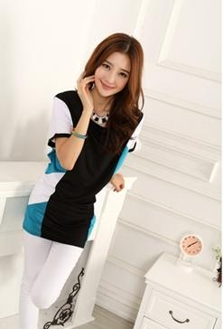 Fashion Side Mix Colour Long Blouse (White)