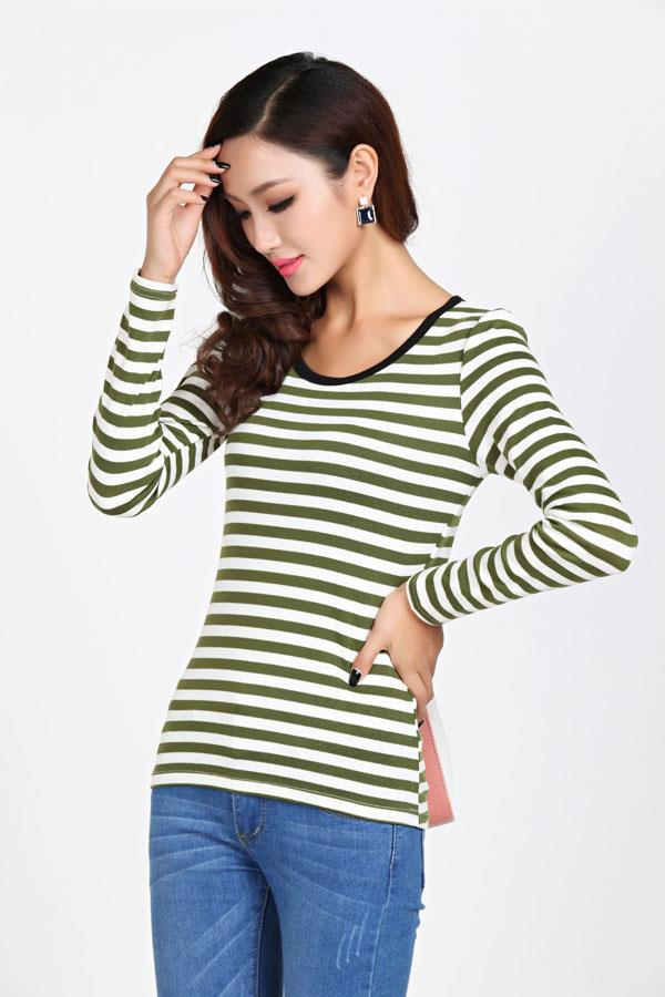 Fashion Stripe Show-slim Long Sleeve Blouse (Olive)