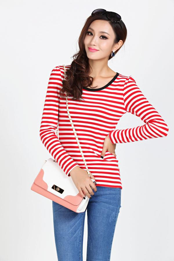 Fashion Stripe Show-slim Long Sleeve Blouse (Red)