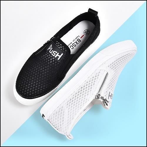 Fashion Style Breathable Netting Sneakers Zipper Slipon