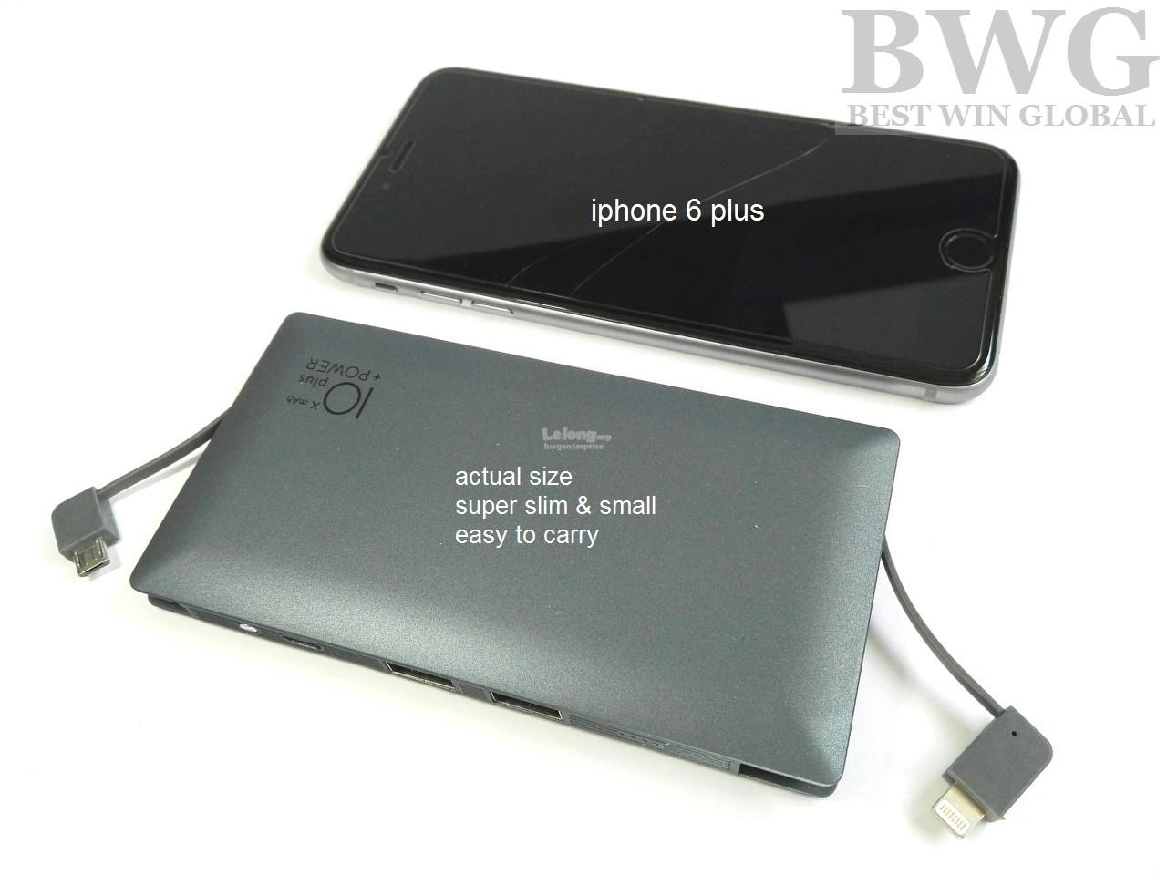 Fast charging Super Slim Li Polymer Power Bank 10000Mah