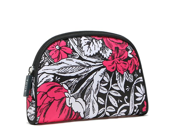 FCUK NYLON FLOWER TEXTURE COSMETIC TRAVEL POUCH BAG