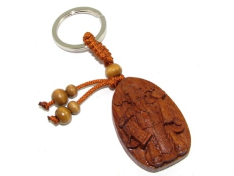 Feng Shui Wealth God Wood Keychain for Windfall and Wealth Luck