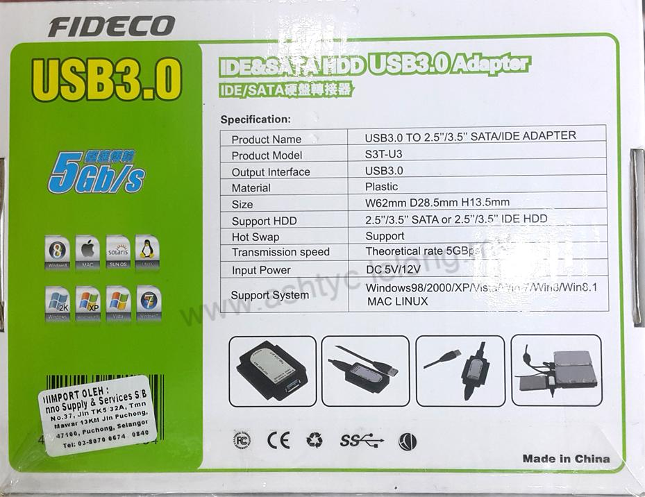 FIDECO IDE & SATA HDD TO USB3.0 ADAPTER (ID07)
