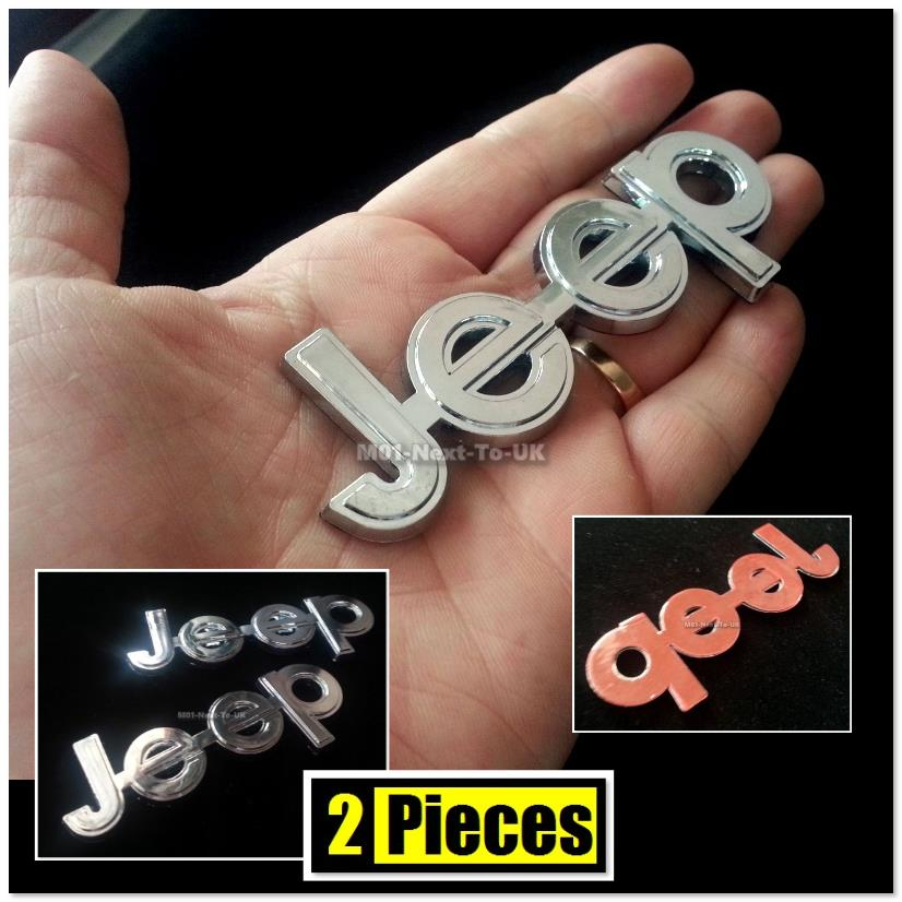 #FIF54 2 Pieces Jeep Chrome Badge Emblem Logo Fender Chromed 3D Car A