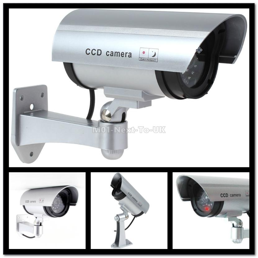 Flashing Light Dummy Security Camera Fake IR LED Surveillance Bullet C