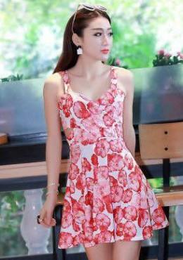 Floral Print Waist Cut Out Fit & Flare Dress (iKR054244)