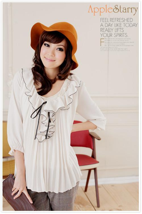 Flounce Pleated Blouse (White)