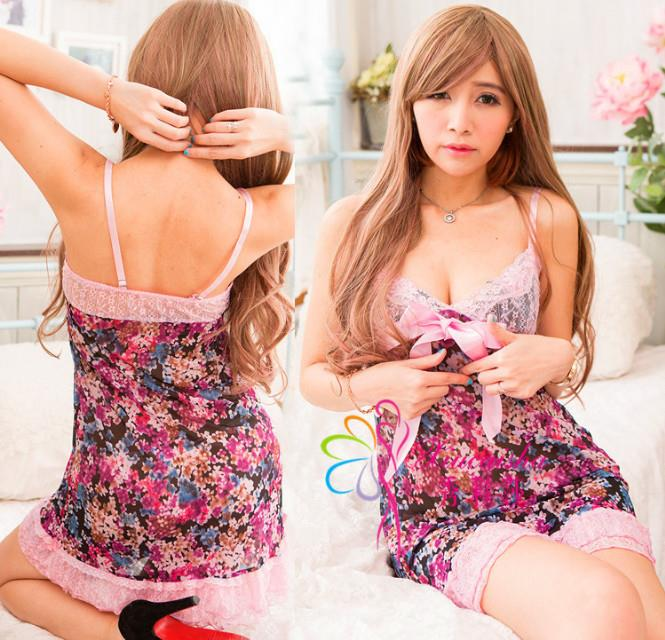 Flower Lace Babydoll Dress + G-string  Sleepwear Lingerie