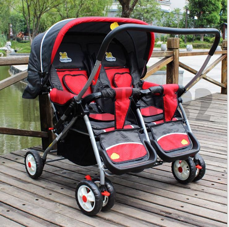 Foldable  Twin Twins Baby Stroller Trolley Double Cart UV Umbrella