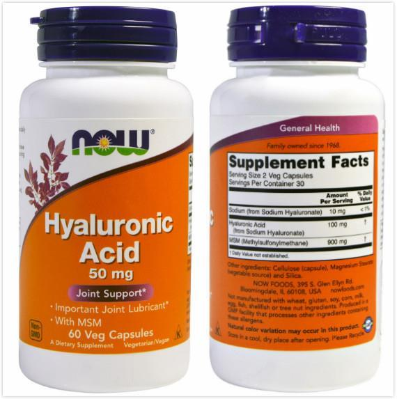 Now Foods, Hyaluronic Acid, 50 mg (60 Vcaps)