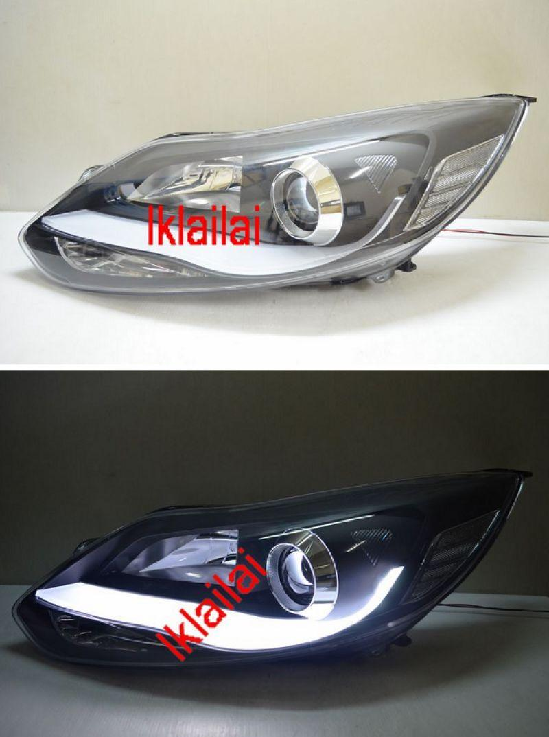 FORD FOCUS MK3 '13 Projector Head Lamp DRL R8 Cool Bar [Black Housing]