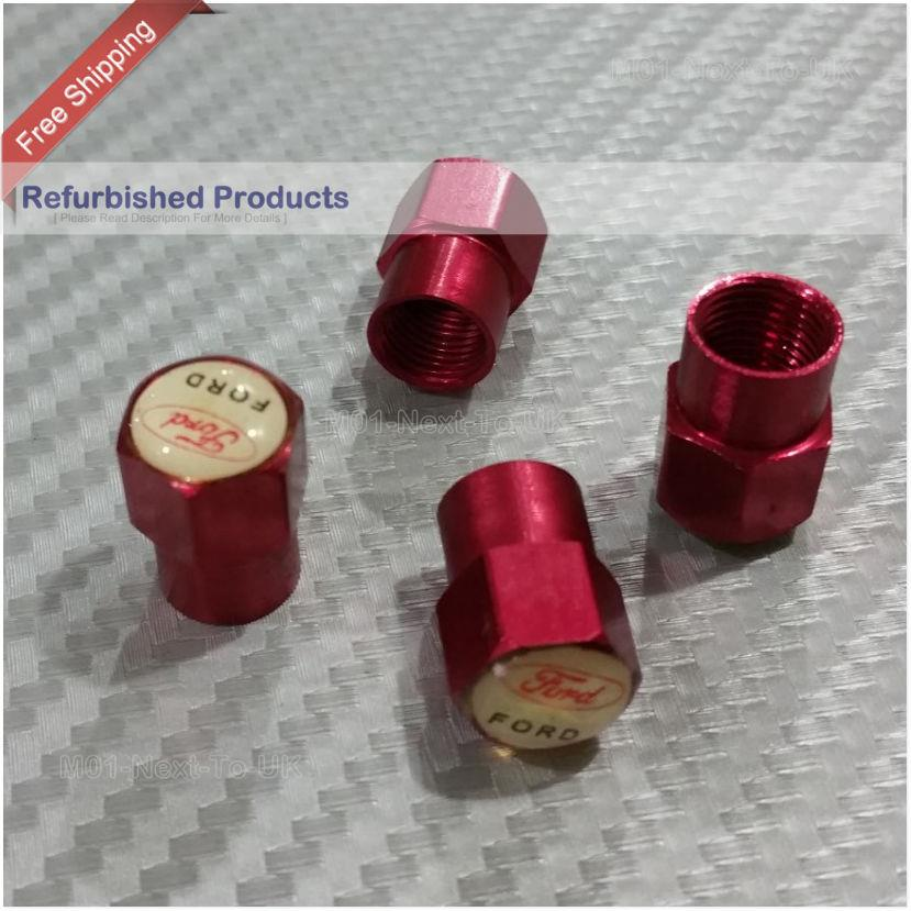FORD RED Metal Wheel Tire Valve Cap Screw Tyre Wheel FREE SHIPPING