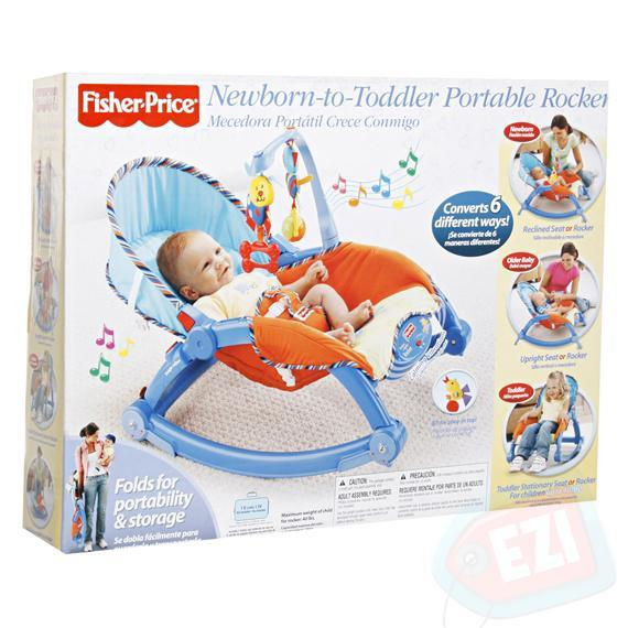 FP Newborn to Toddler Rocker with Calming vibrations and music- Blue