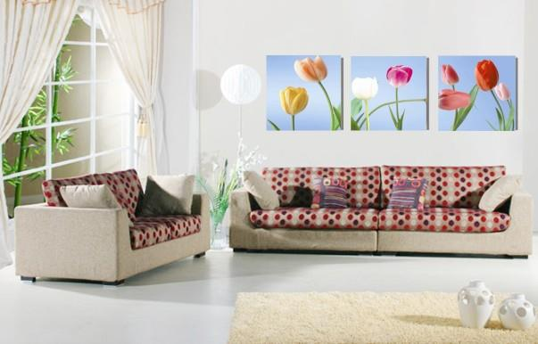 Frameless 3D Poster Clock, Crystal Clear Printing, Tulips in the wind