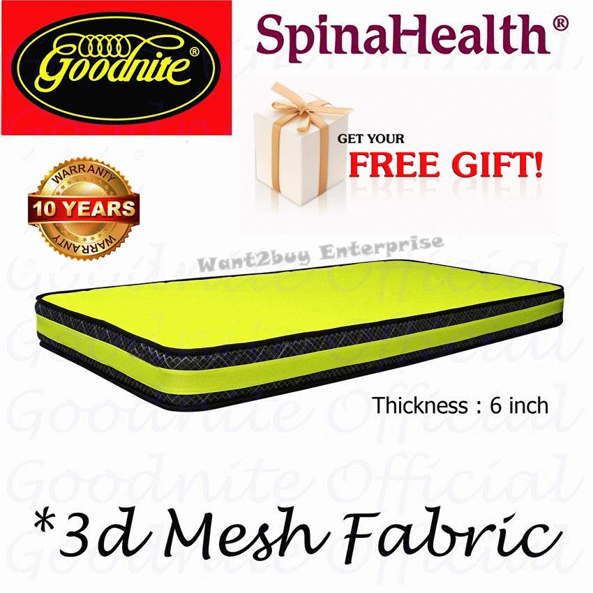 Free Gift + Goodnite Official Single Mattress - 6 Inch Posture Spring