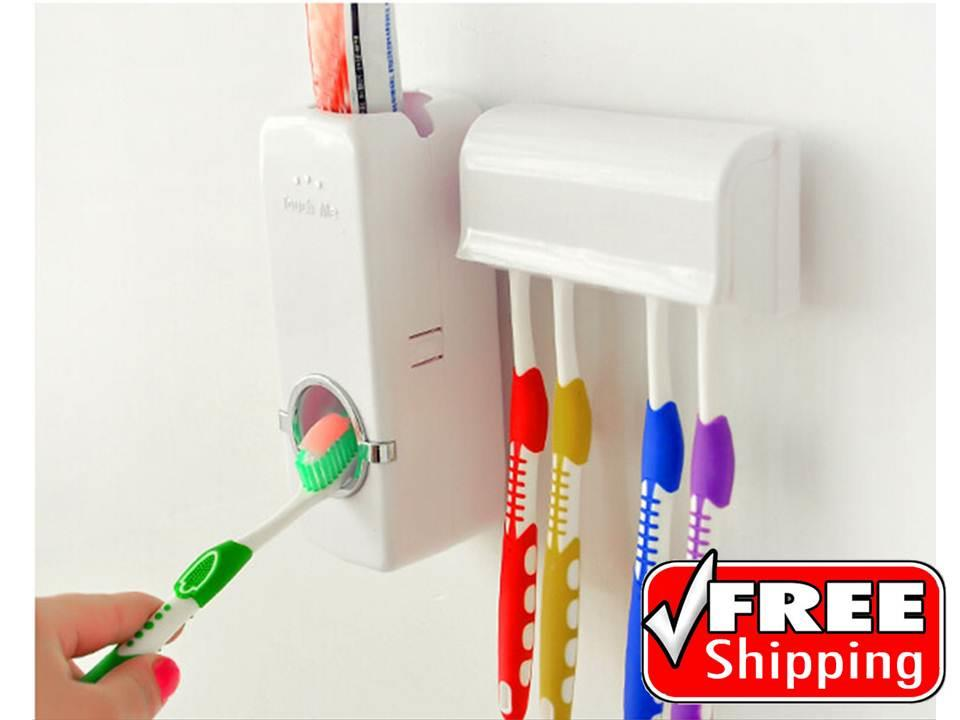 FREE SHIPPING Automatic Touch Me Toothpaste Dispenser & Brush Holder