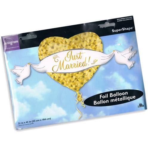 FREE SHIPPING Just Married Super Shape Foil Balloon Golden Love&Doves