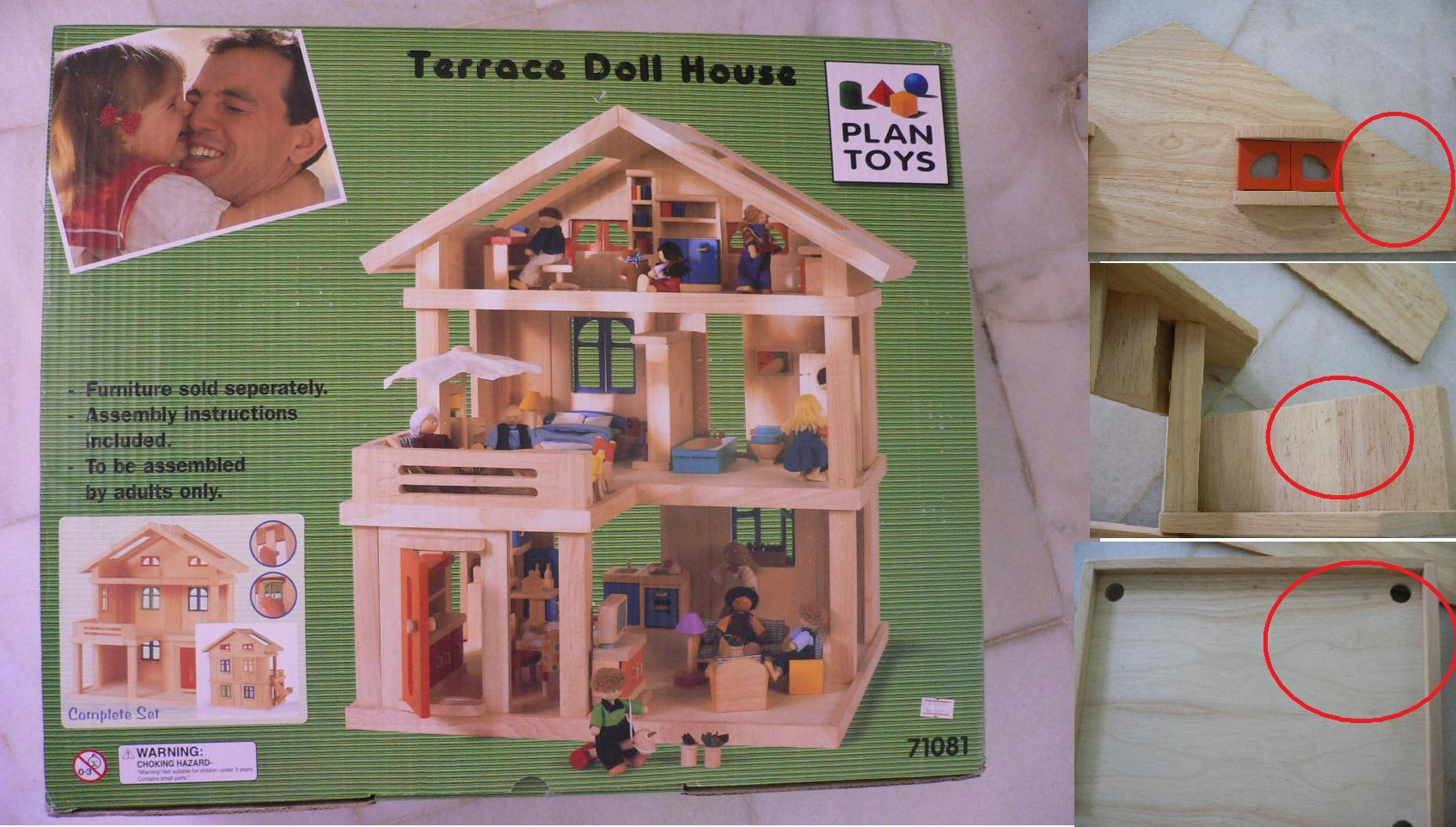 Free Shipping- 'PLAN TOYS' Wooden Terrace Doll House (No.71081)