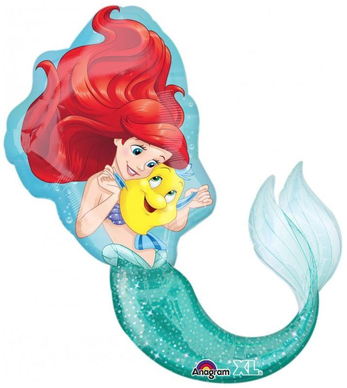 FREE SHIPPING Princess Ariel Mermaid Flounder Super Shape Foil Balloon