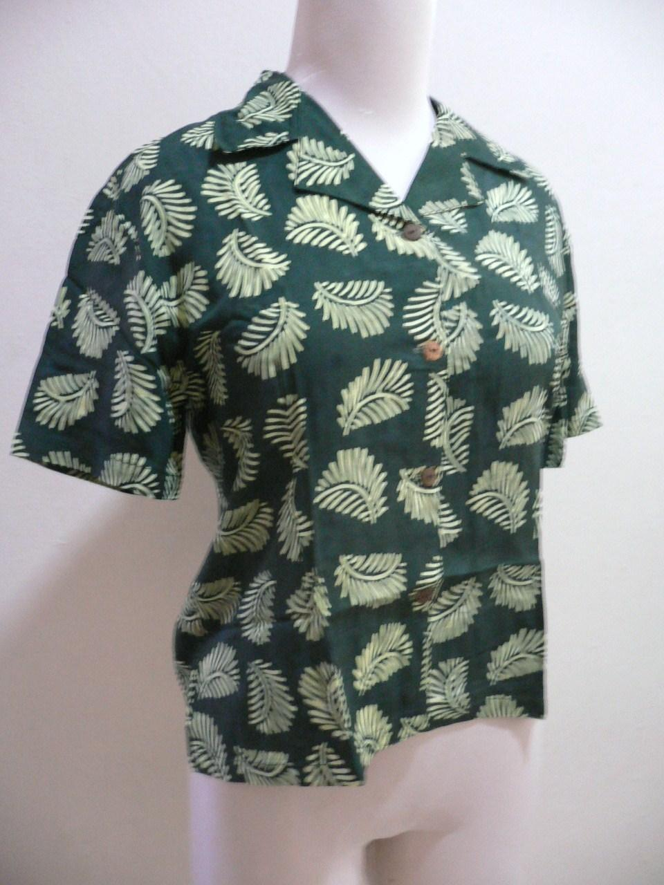Free Shipping-'SEASON' Batik Lady Shirt(S) -Green