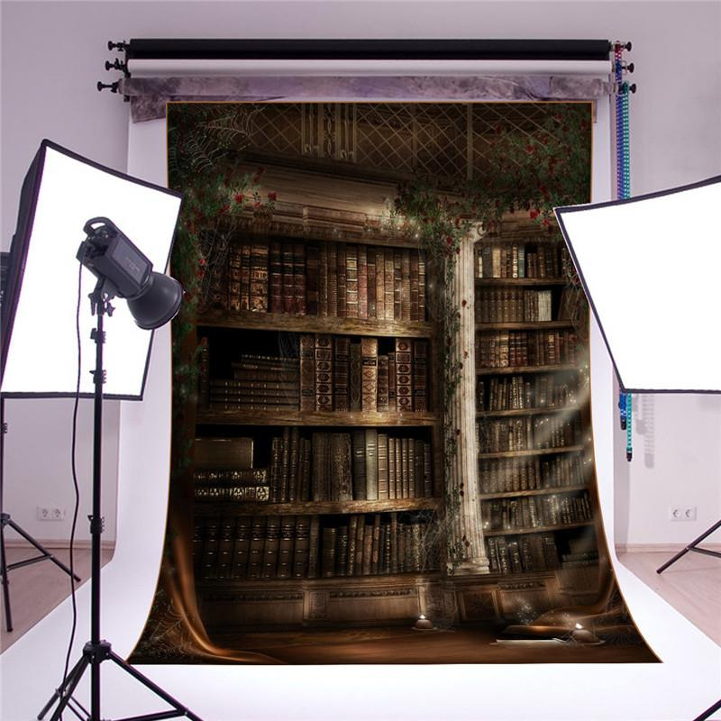 Freebang 3x5FT Vinyl Retro Book Shelf Backdrop Background photography