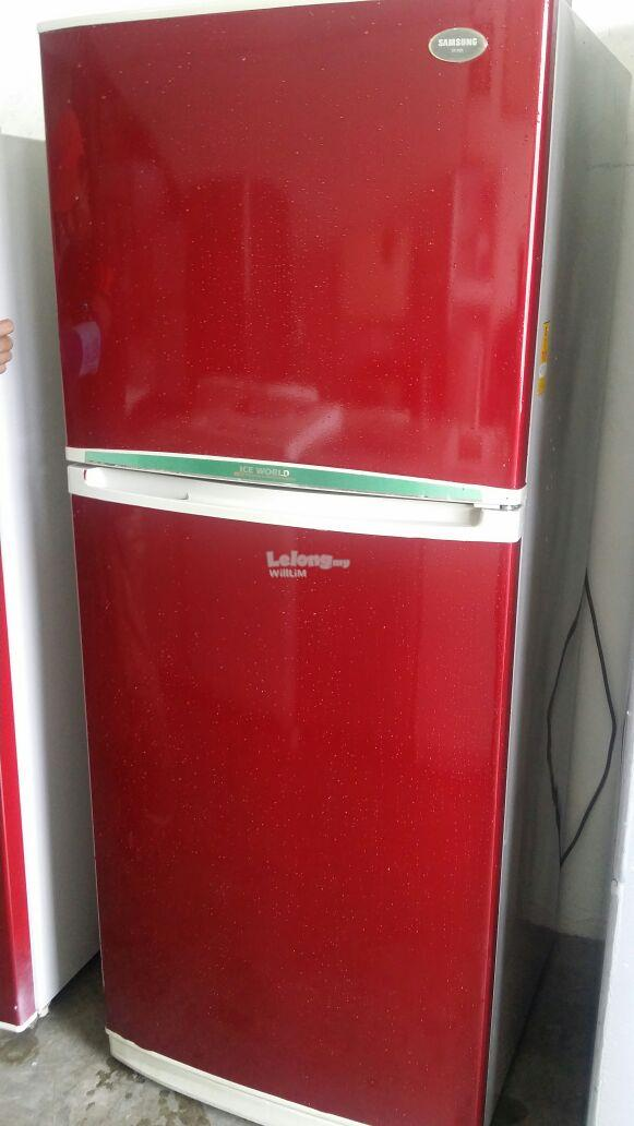 Fridge Samsung Red Peti Sejuk Refrigerator Freezer 2 Pintu Doors Recon