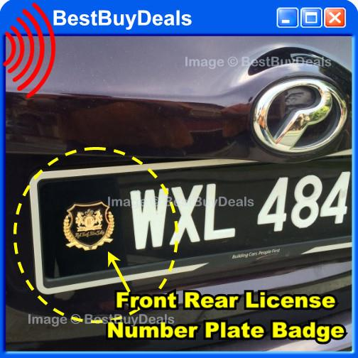Front Rear License Number Plate Badge Emblem Logo Side Chrome Gold Car