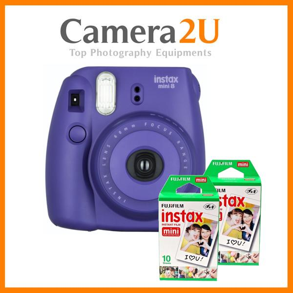 New Fujifilm Instax Mini 8 Instant Camera (Grape Purple) + Mini Film 2