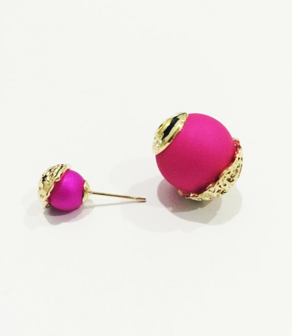 Fushia Double Pearl earrings (Free Shipping)
