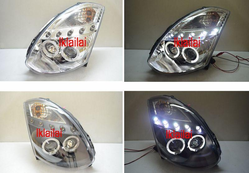 G35 2D LED RING Projector Head Lamp 5 LED Eye Brown