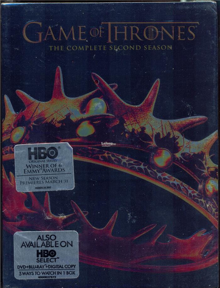 Game Of Thrones The Complete Second Season - New DVD