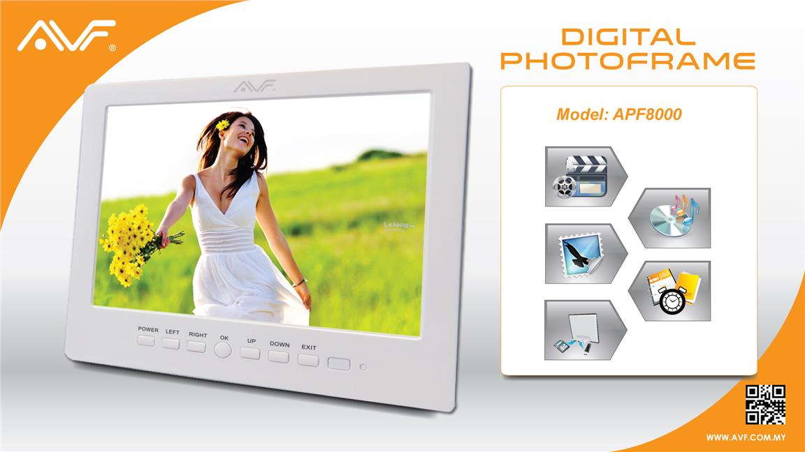 "GD. AVF DIGITAL PHOTO FRAME 8"" 1024X768 APF8000 COME W/ HDMI PORT"