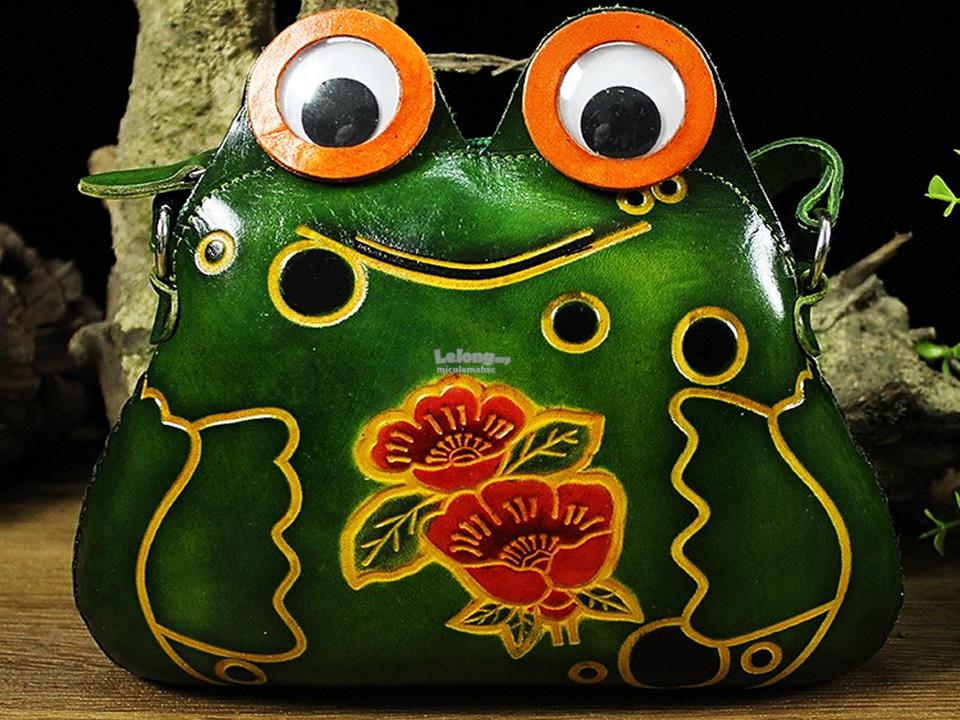 GENUINE Handmade Leather FROG Handbags Wallet Purse Shoulder Bags