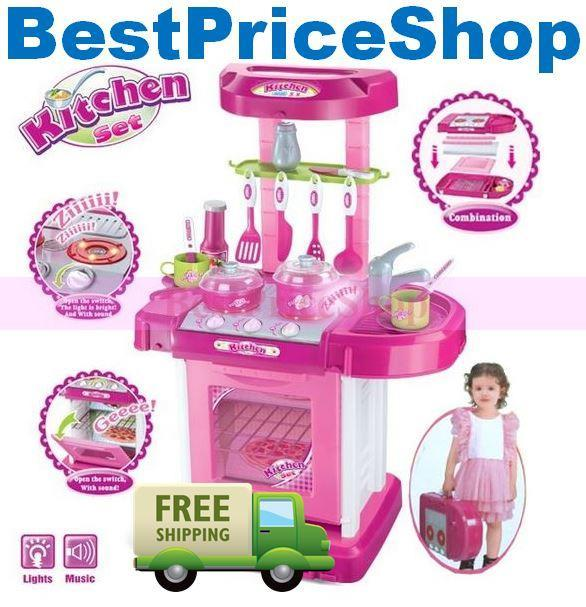 Girls Kitchen Pretend Play Set Sound U0026 Light Educational Toy Cooking