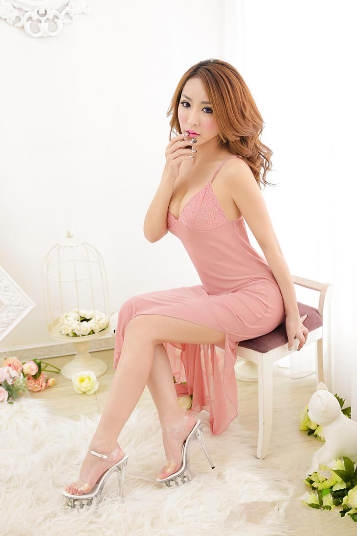 Glamour Lace Long Sexywear + T-panties (Pink)