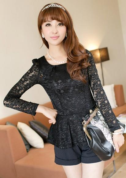 Glamour Lace Long-sleeve Peplum Blouse 14915 (Black)