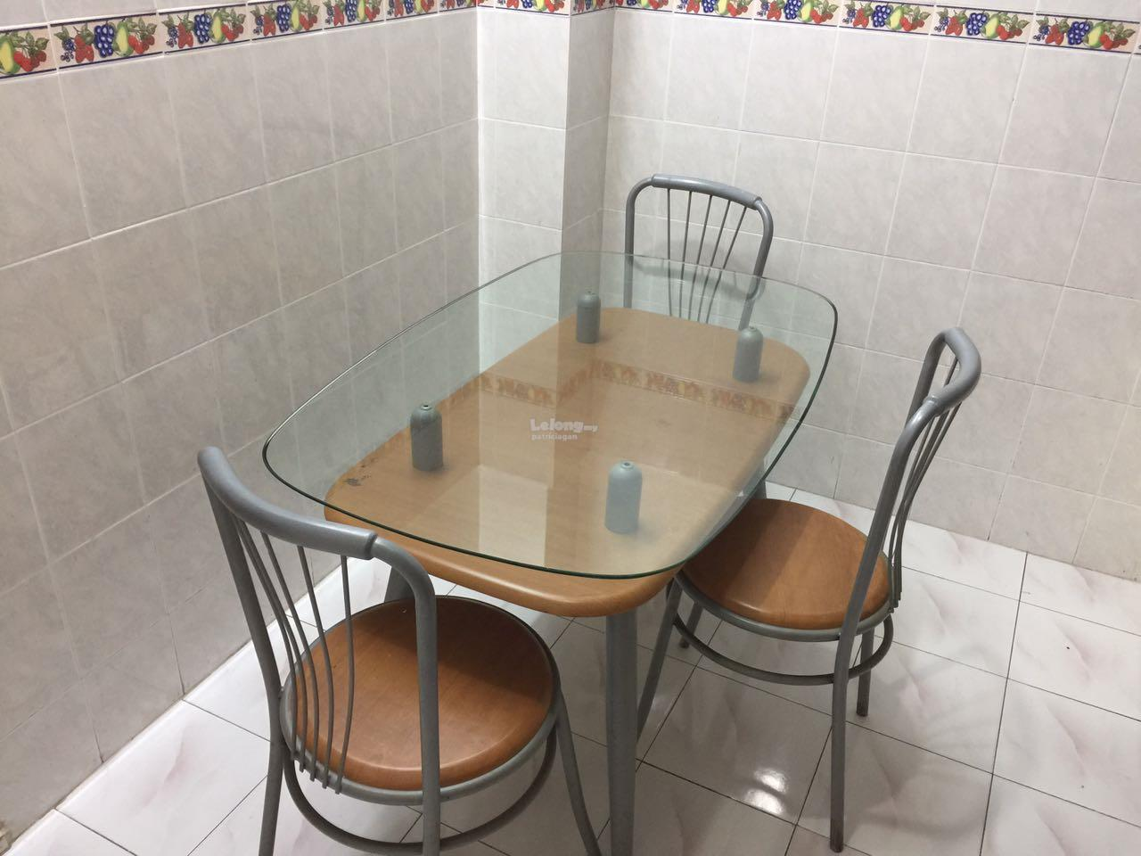 Glass Dining Set W 4 Chairs (Preloved)