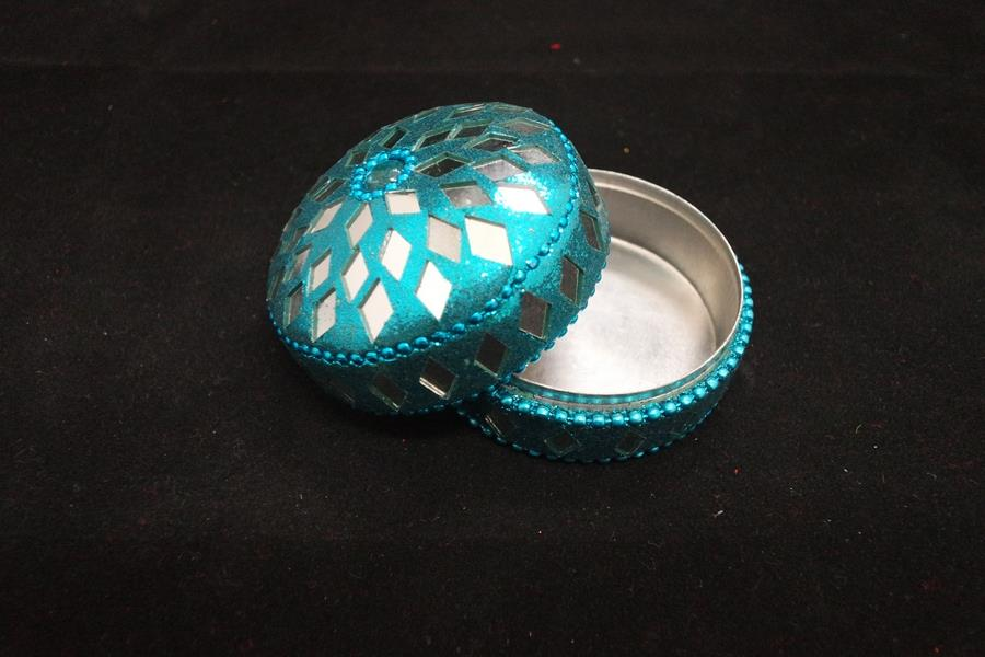 Glittery Round Metal Box - Blue