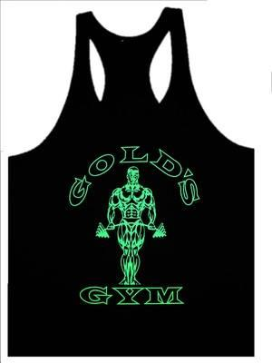 Gold Gym Black Highlight Green Singlet (Baju Fitness Sport) gym