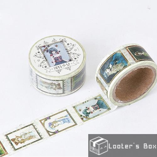 Gothic Girl Portrait Tarot Card Fat Washi Tape (J1380)